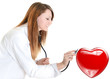 attractive cardiologist listening heartbeat