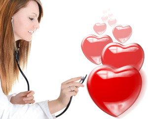 cheerful cardiologist listening heartbeat