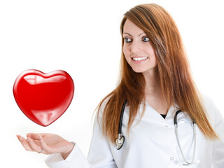 Attractive doctor woman listening heartbeat