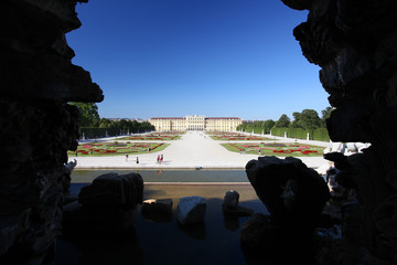Schonbrunn Palace from Neptune Fountain