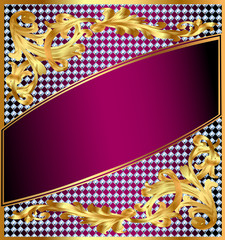 background frame with gold ornaments and precious stones