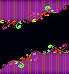 background with colorful swirls and gold stripes