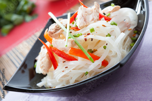 rice noodles with chunks of tuna
