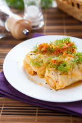 Ukrainian cabbage rolls on a white plate with tomato sauce