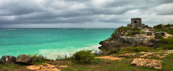 Panoramic views of the Caribbean coast near the Watchtower in th