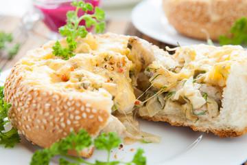 mushroom julienne cooked in a bun