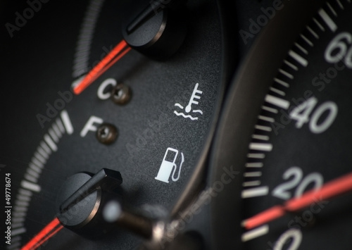 Fuel gauge dash board close up