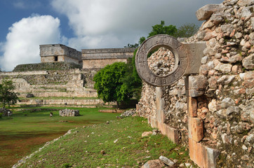 Ring Mayan ball game in the ancient city of Uxmal