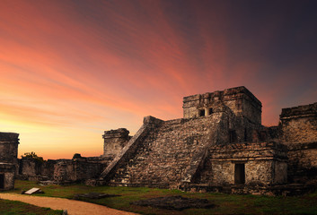 Castillo fortress at sunset in the ancient Mayan city of Tulum,