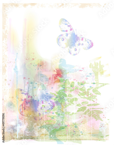 watercolor background with butterflies