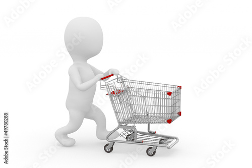 Man pushing a shopping cart empty