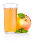 Apple juice in glass and Red juicy apple with green leaf on whit
