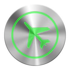 Edelstahl Flugzeug Button Grün