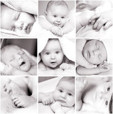 black-and-white baby's photos