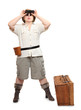 Retro style traveler with suitcase going on a vacation.