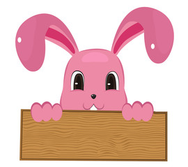 Rabbit easter with wood sign