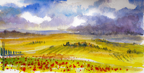 Tuscany landcape watercolor painted.