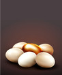 vector background with a golden egg surrounded by normal eggs