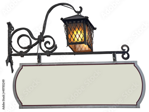Signboard  with lantern - 49785249
