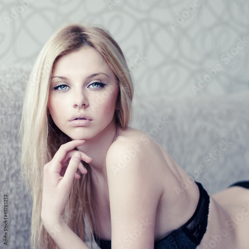 fashion portrait of a sexy young woman in underwear closeup