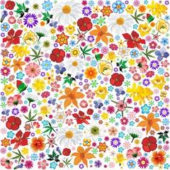 Spring Flowers Pattern Tile-Fiori Primavera Sfondo-Vector