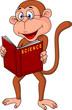 Monkey cartoon reading book