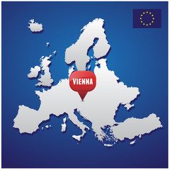 Vienna on european map and EU flag