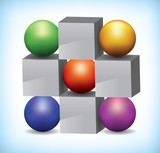 3D illustration of colored spheres and grey cubes