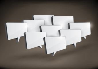 3D rectangular speech bubbles in a group
