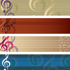 Treble clef banner set