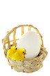 natural basket with chicken and eggs