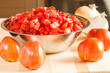 Tomatoes and bowl of diced tomatoes