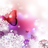 Fototapety Blossoms and Butterflies Illustration
