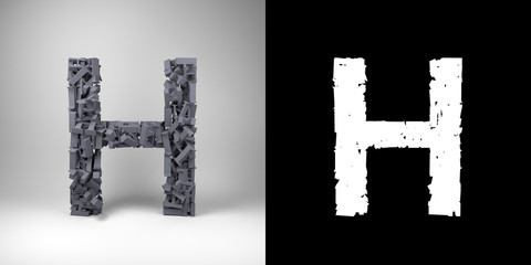 Letter H with alpha matte for easy isolation