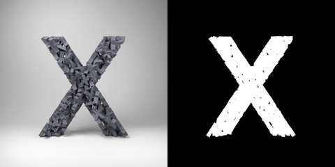 Letter X with alpha matte for easy isolation