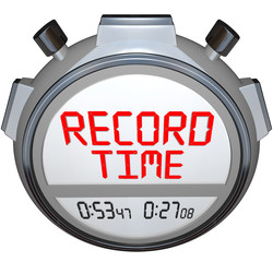 Record Time Stopwatch Displays Best Time Ever