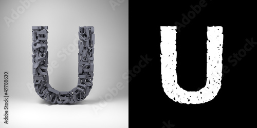 Letter U with alpha matte for easy isolation
