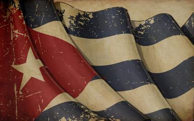 Cuban Flag Old Paper