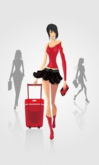 beautiful lady with luggage at the airport
