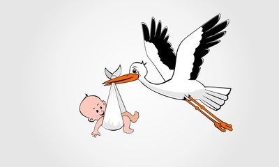 stork carrying baby home