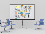 movie screen with business concept