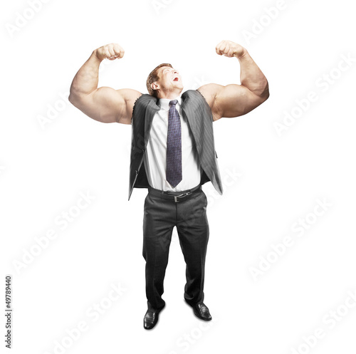 man with muscles hand