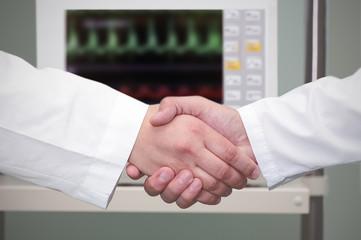 handshake in the hospital.