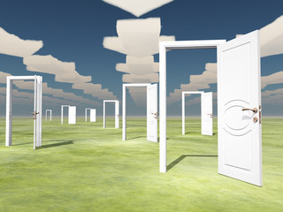 Many open doors with directional arrow clouds