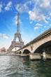 Paris - Beautiful view of Eiffel Tower  and Iena Bridge