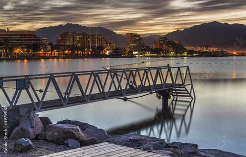 Before dawn, view from central beach of Eilat, Israel