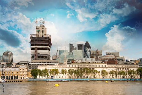 City of London financial center with Thames river in foreground