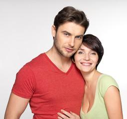 Portrait of happy couple at studio
