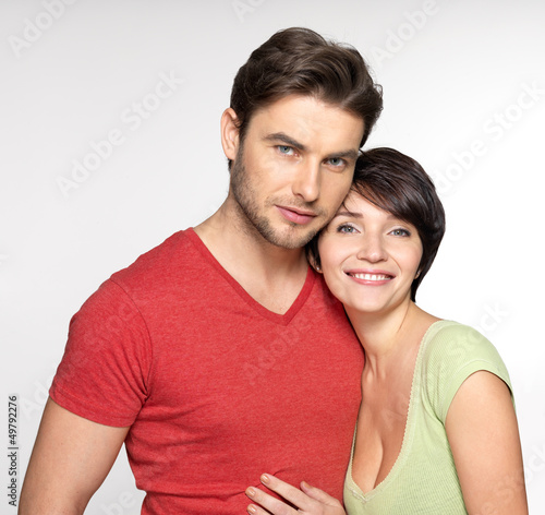 Portrait of happy couple at studio
