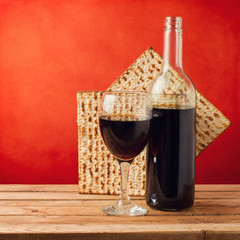 Background with wine and matza for passover celebration